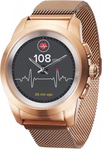 Гибридные смарт часы MyKronoz ZeTime Elite Regular миланский сетчатый браслет цвет матовое розовое золото, 44 мм смарт браслет nike fuelband se