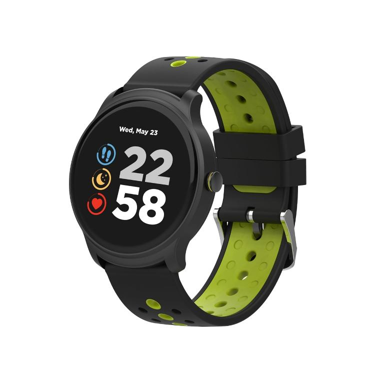 Умные часы Сanyon CNS-SW81BG 1.3inches IPS full touch screen, Alloy+plastic body,IP68 waterproof, multi-sport mode with swimming mode, compatibility with iOS and android,Black-Green with extra belt volemer i7 s8 tws earbuds wireless bluetooth earphone sports headest with portable 2000 mah charging box for ios android phone