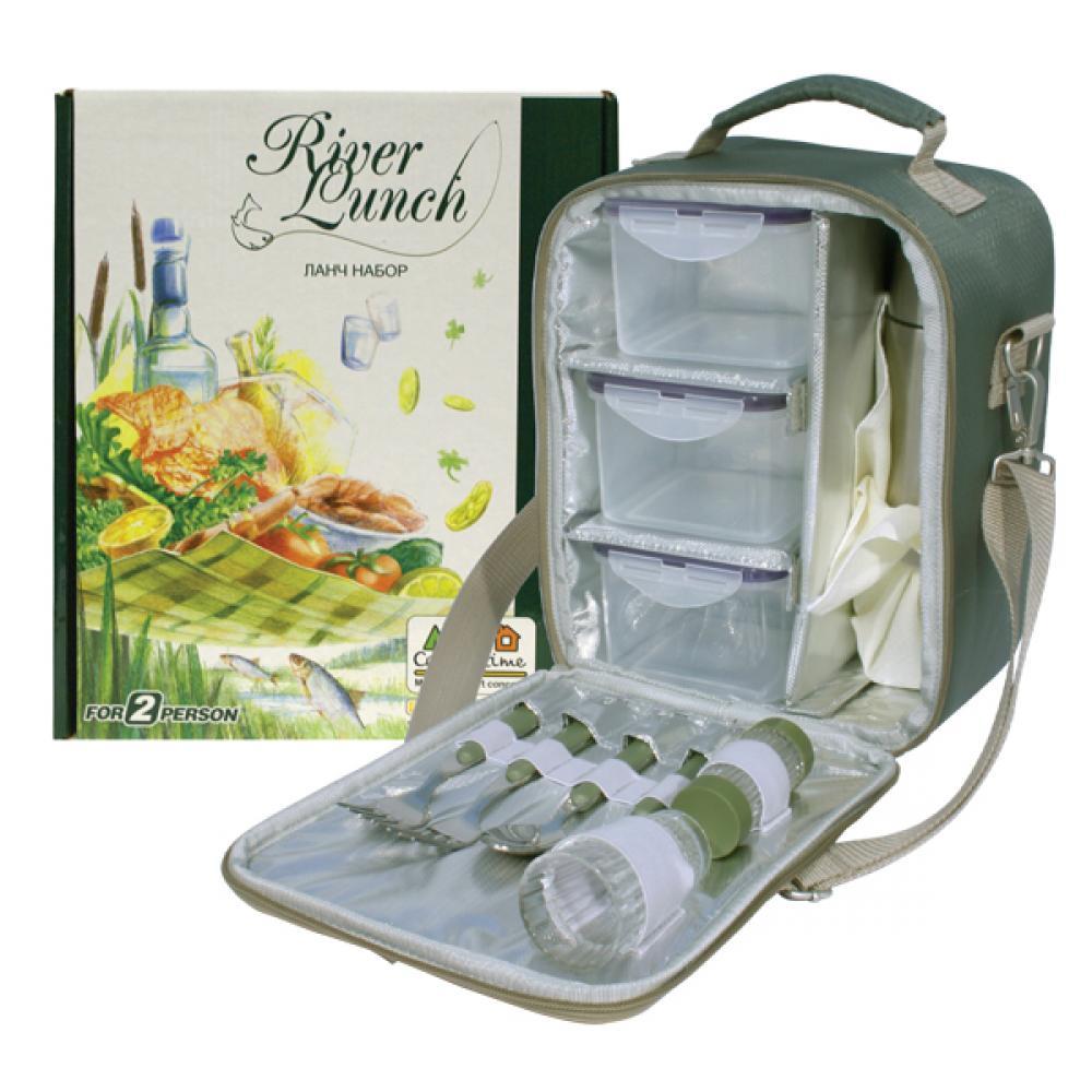 Набор для пикника CW River Lunch в подарочной упаковке (на 2 персоны, цвет зеленый, сумка-термос с набором посуды и термосом для напитков, вес 1250г) сумка термос truck novelty