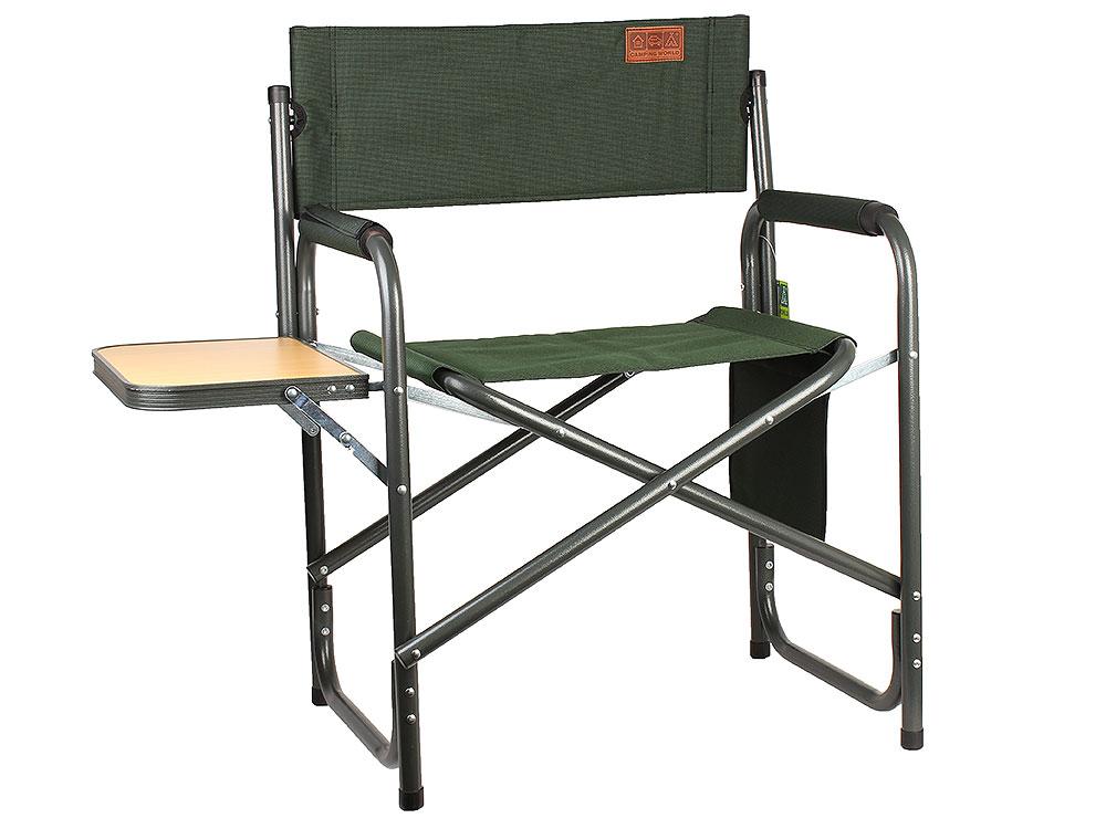Кресло Camping World Mister CL-011 (с боковым откидным столиком, цвет зеленый, нагрузка 130кг, вес 3,75)