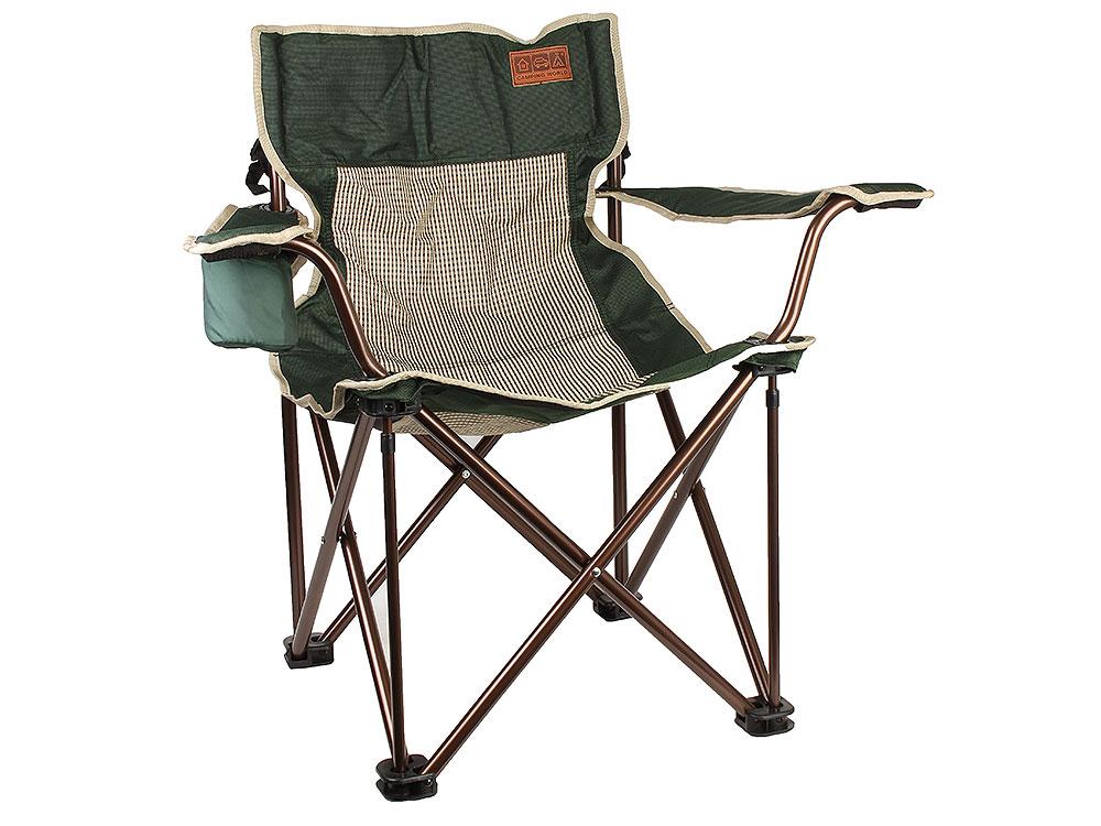 Складное кресло Camping World Companion S чехол, подстаканник в подлокотнике, сетчатые спинка и седенье, усиленные ножки, зелёный