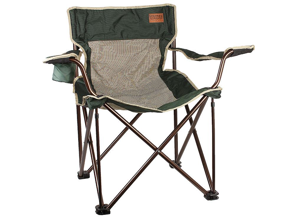 Складное кресло Camping World Villager S чехол, подстаканник в подлокотнике, сетчатые спинка и седенье, усиленные ножки, зелёный
