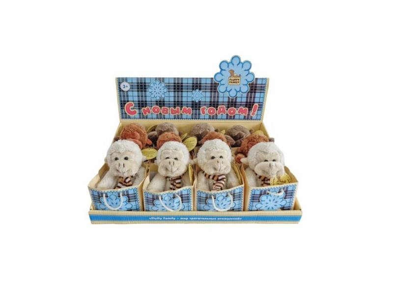 Мягкая игрушка обезьянка Fluffy Family 681154 12 см серый плюш