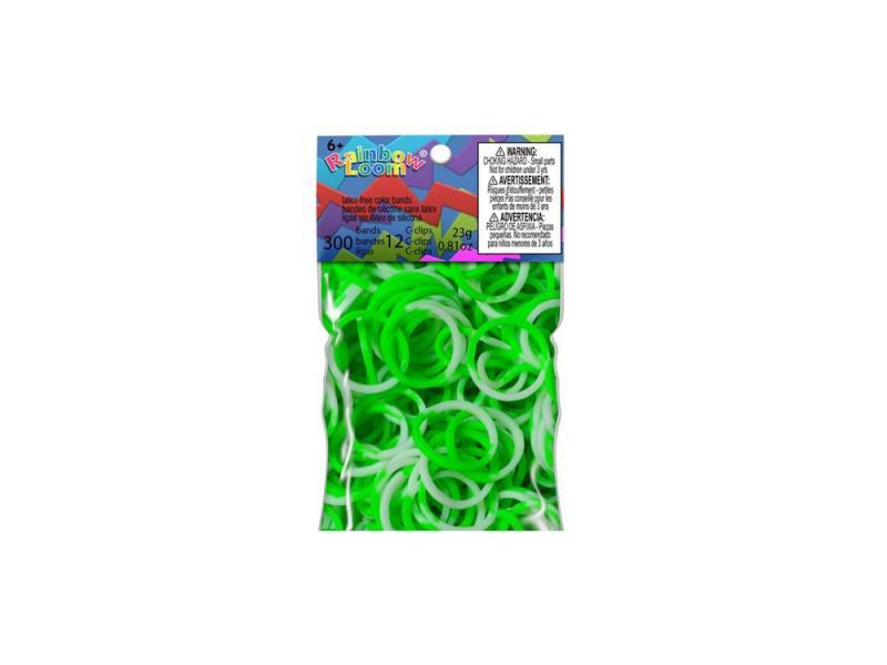 Резинки для плетения Rainbow Loom Силикон Зелеленый/Белый 0588 300 шт недорого