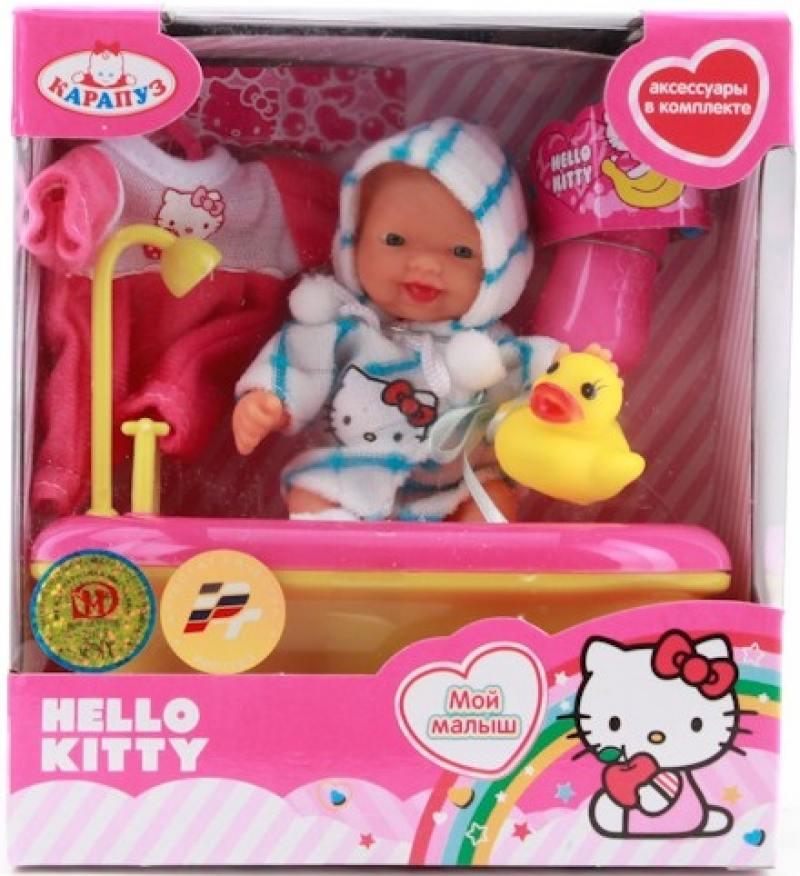 Игровой набор Карапуз Hello Kitty в ванночке с аксессуарами 10 см U536-Н43012