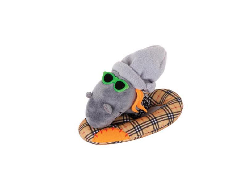 Мягкая игрушка змейка Gulliver Змей Модник 20 см оранжевый серый ткань синтепон игрушка