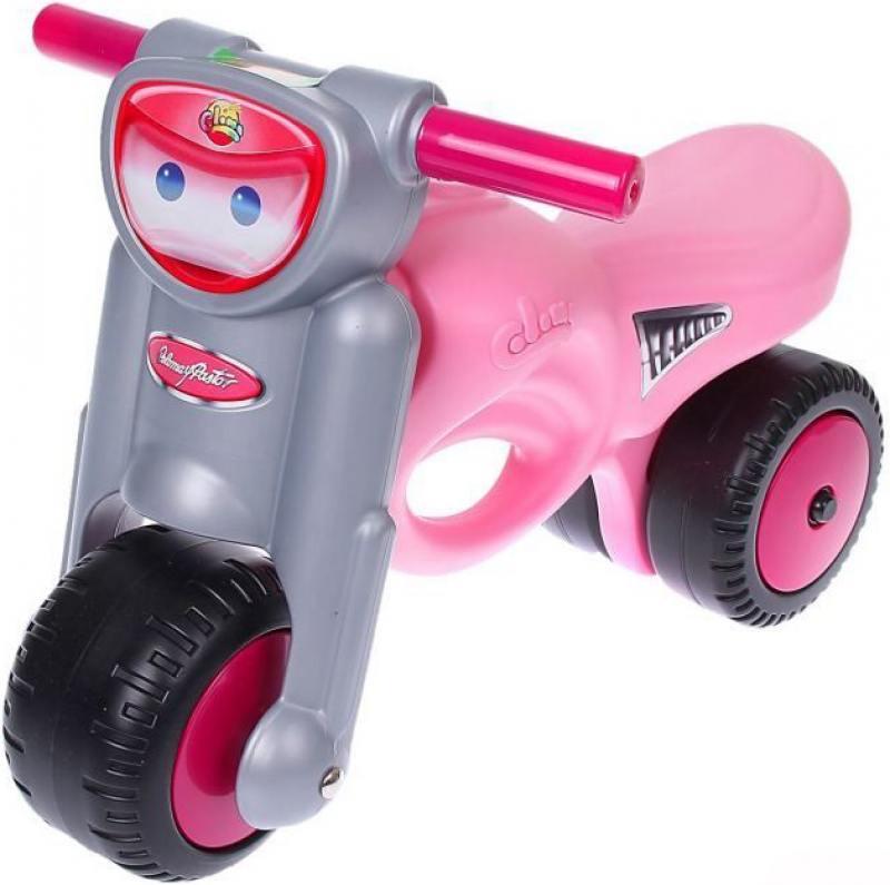 Каталка-мотоцикл Coloma Мини-мото пластик от 2 лет с ручкой розовый 48233