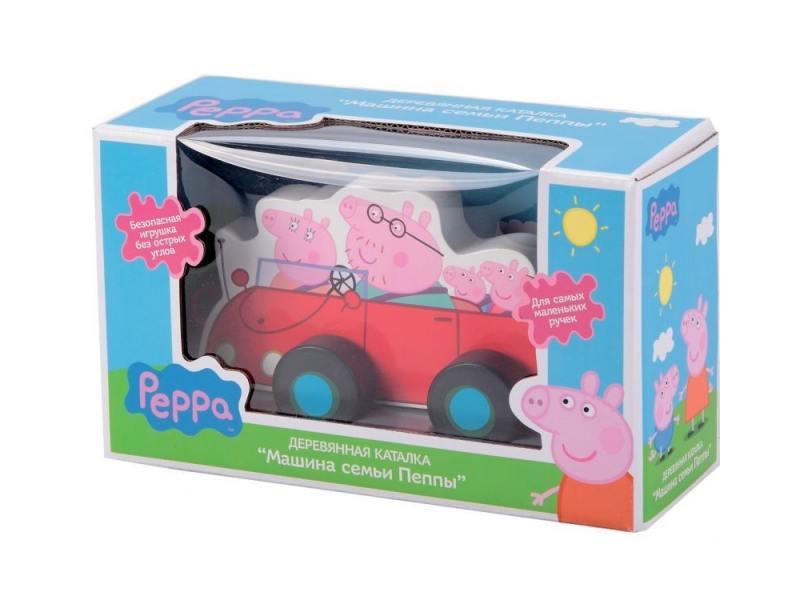 Каталка-машинка Peppa Pig семья Пеппы дерево от 1 года 24442 цена
