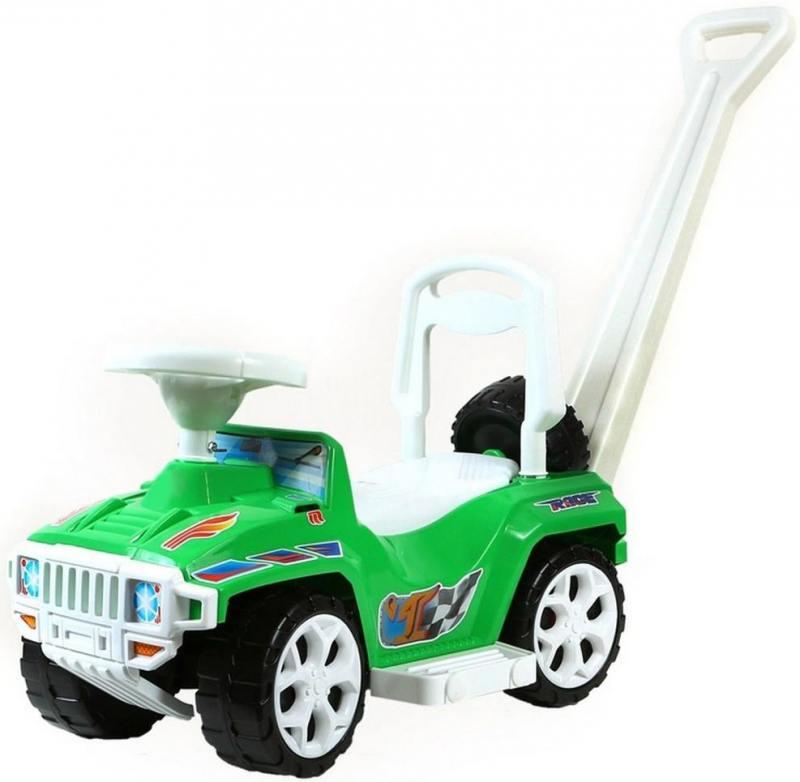 цена на Каталка-машинка Rich Toys Mini Formula 1 пластик от 10 месяцев с ручкой для родителей зеленый ОР856