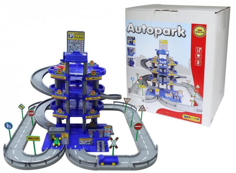 Паркинг Wader 4-уровневый с дорогой и автомобилями синий 44716, Игрушки  - купить со скидкой