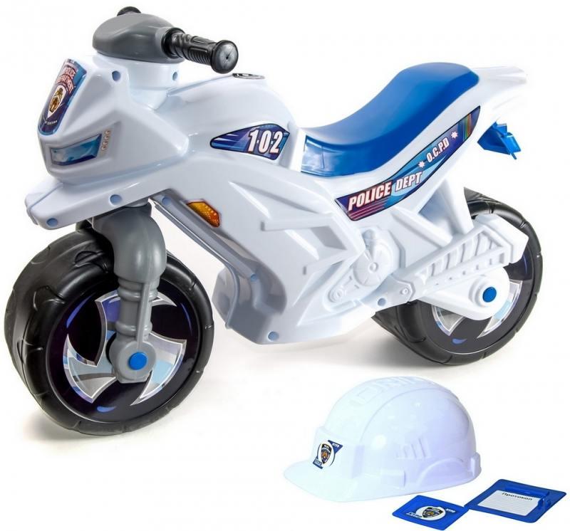 Каталка-мотоцикл беговел RT Racer RZ 1 Полиция со шлемом цвет бело-синий ОР501в2