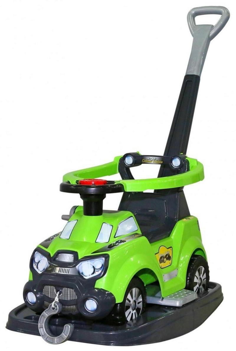 Каталка-машинка Molto Sokol пластик от 8 месяцев с ручкой для родителей зеленый 48325 все цены