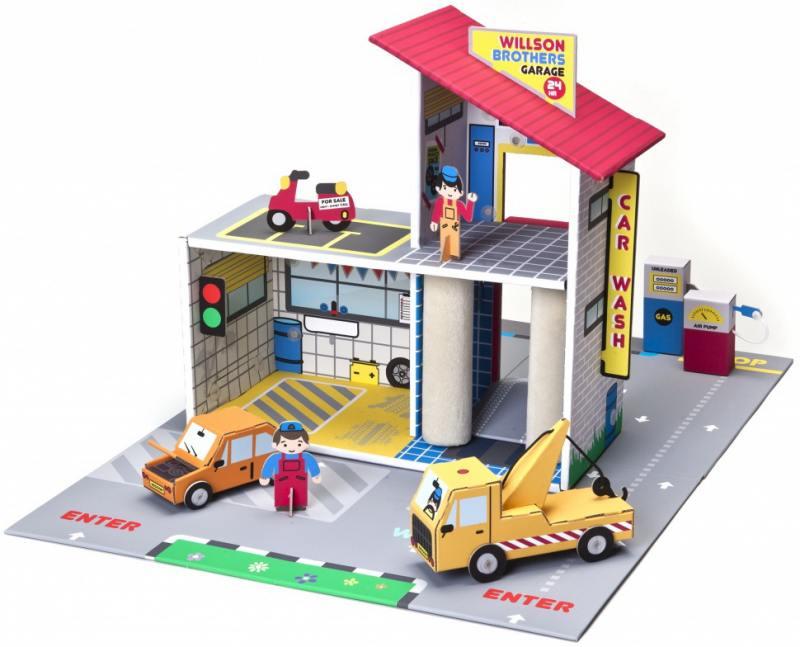 Игровой набор Krooom Детский гараж Уилсон Бразерс 43 см разноцветный К-303 krooom игрушки из картона 3d набор сказочное дерево k 327