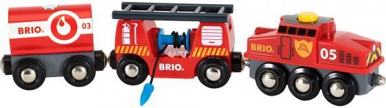 Пожарный поезд Brio,3 ваг.,выдвижн.лестница,водяной шланг,27х5х15см,кор. сканер ваг
