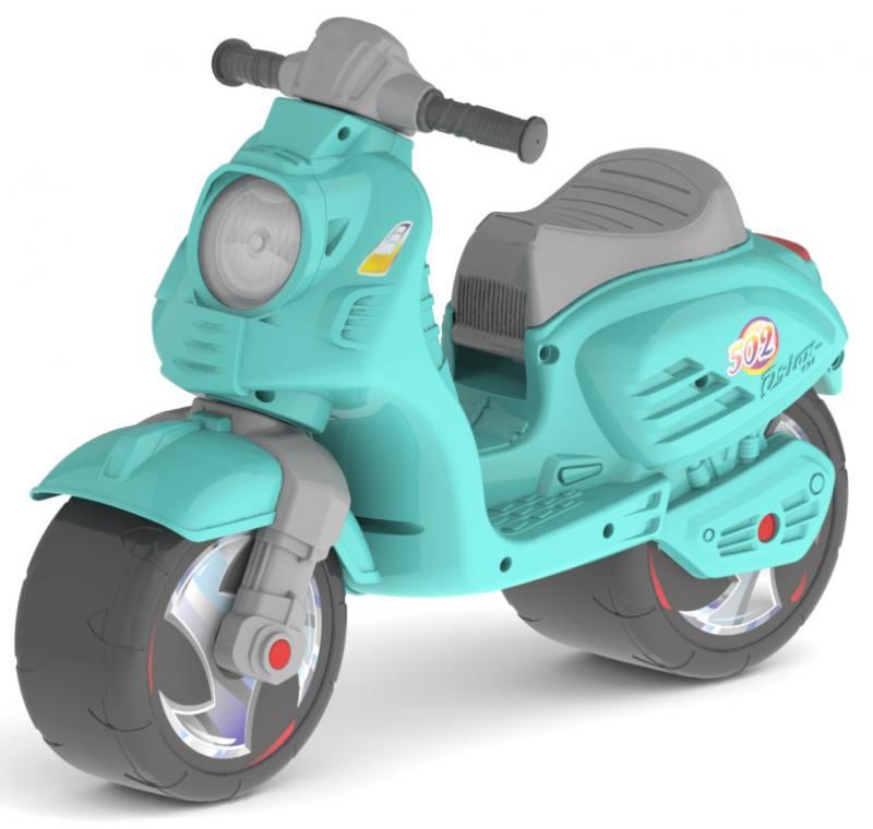 Каталка-мотоцикл двухколёсный RT Скутер аквамарин ОР502