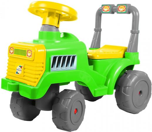 Каталка-трактор R-Toys ОР931к пластик от 10 месяцев на колесах зелено-желтый каталка машинка peg perego jd gator hpx пластик от 3 лет на колесах зелено желтый