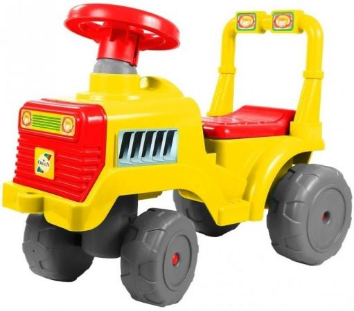 Каталка-трактор R-Toys ОР931к пластик от 10 месяцев на колесах красно-желтый каталка качалка r toys лошадка трансформер пластик от 8 месяцев белый 5570 ор146