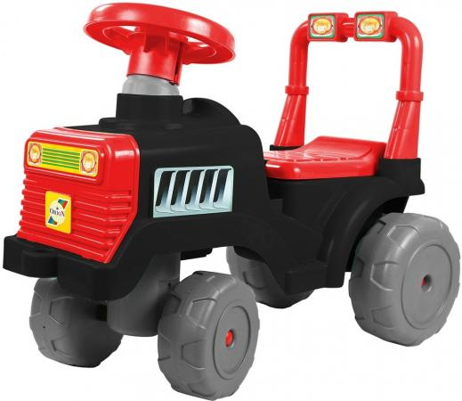 Каталка-трактор R-Toys ОР931к пластик от 10 месяцев на колесах черно-красный каталка качалка r toys лошадка трансформер пластик от 8 месяцев белый 5570 ор146