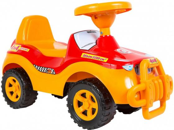 Каталка-машинка R-Toys ОР105к пластик от 8 месяцев с клаксоном желтый каталка качалка r toys лошадка трансформер пластик от 8 месяцев белый 5570 ор146
