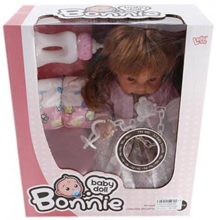 купить Кукла Shantou Gepai Bonnie 30 см со звуком писающая пьющая LD9908B по цене 767 рублей