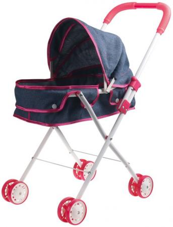 1toy коляска-люлька для куклы Красотка-Джинс,метал.рама,собр.62*27*67см,пакет 66*36*12см 1toy коляска д куклы люлька пакетт58756