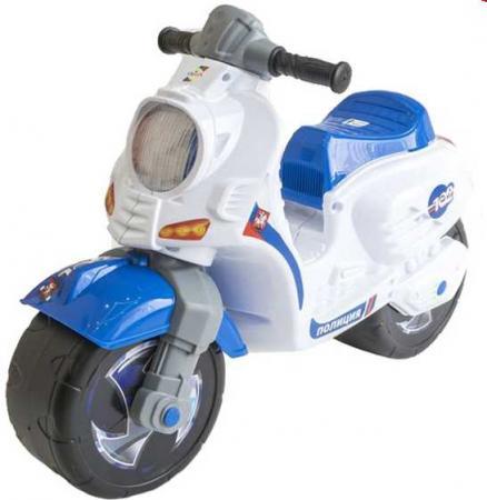 Каталка-мотоцикл RT СКУТЕР Полиция пластик от 18 месяцев на колесах бело-синий