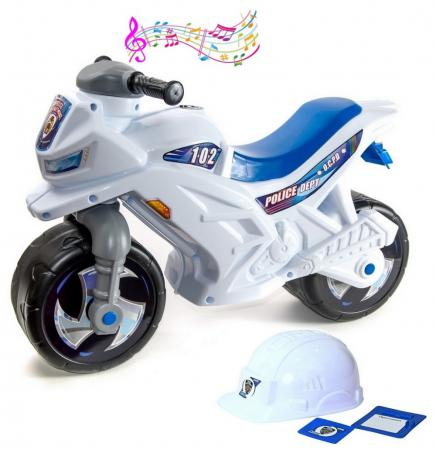 цена на Каталка-мотоцикл двухколёсный RT Racer RZ 1 белый Полиция с музыкой ОР501в3