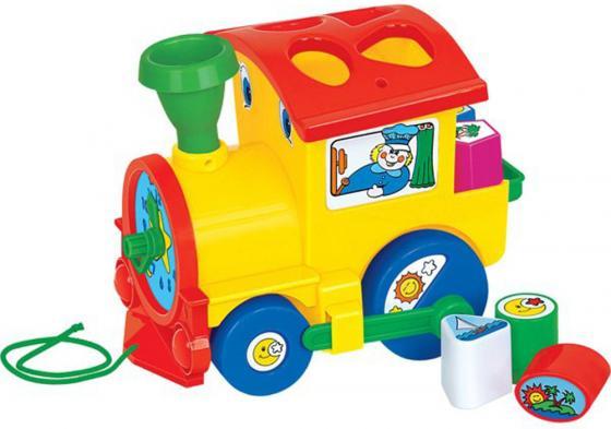 Каталка на шнурке Полесье Занимательный паровоз пластик от 1 года на колесах разноцветный сетка 61 каталка беговел rt самоделкин пластик от 1 года на колесах бирюзовый