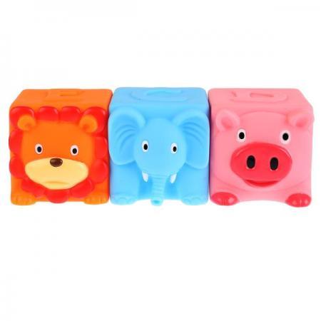 Игрушки пластизоль для купания Играем вместе 3 кубика (DEC) пищалка в сетке (русс уп) в кор.2*25шт цена