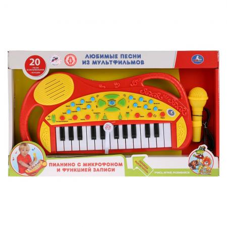 Обучающее пианино со звуком, 20 любимых песен с микрофоном., руссифиц. ТМ УМКА в кор.2*12шт, Игрушки  - купить со скидкой
