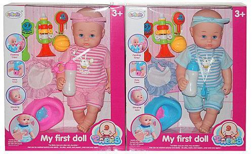 Пупс Shantou Gepai My First Doll 40 см со звуком пьющая писающая кукла shantou gepai марта y4071640 32 см пьющая