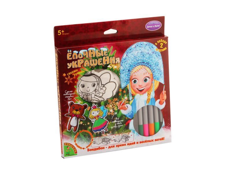 Набор для творчества Bondibon Ёлочные украшения (принцесса, мишка) от 5 лет 01064 набор для творчества bondibon фигуры из воздушных шаров разноцветный