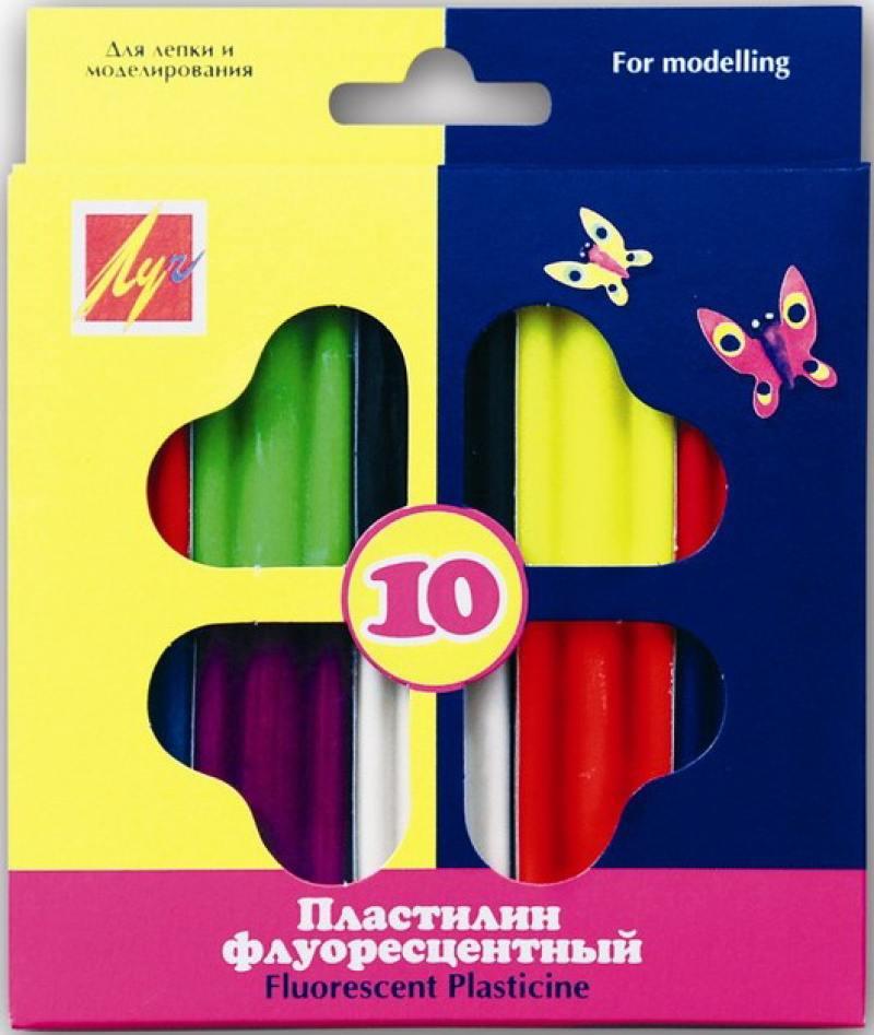 Пластилин флюоресцентный, 10 цв., 132 г, с европодвесом пластилин плавающий луч с пластмассовыми деталями 6 цв 84гр с европодвесом
