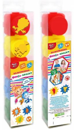 Пальчиковые краски Multi Art Фиксики 5 цветов 1515-FIX molly краски пальчиковые с трафаретом первая картина 5 цветов