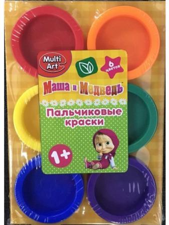 Пальчиковые краски Multi Art Маша и Медведь 6 цветов CM2752-MM краски маша и медведь маша и медведь