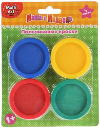Пальчиковые краски Multi Art Маша и Медведь 4 цвета CM2684-MM краски маша и медведь маша и медведь
