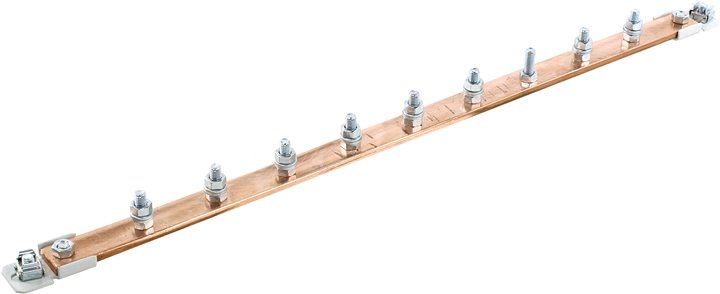 Шина заземления медная 19, горизонтальная, серая, 9 подключений, NT GB-09 G шина заземления iek
