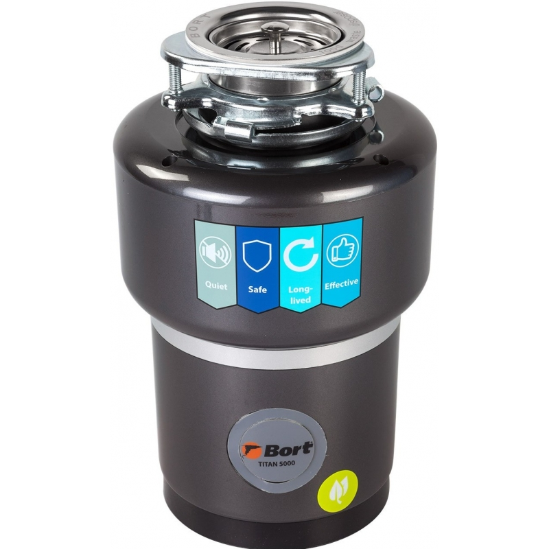 цена Измельчитель пищевых отходов Bort TITAN 5000 560 Вт, объём 1 400 мл, пневмовыключатель